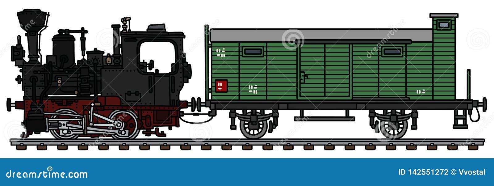 Stara mała parowa lokomotywa i frachtowy furgon