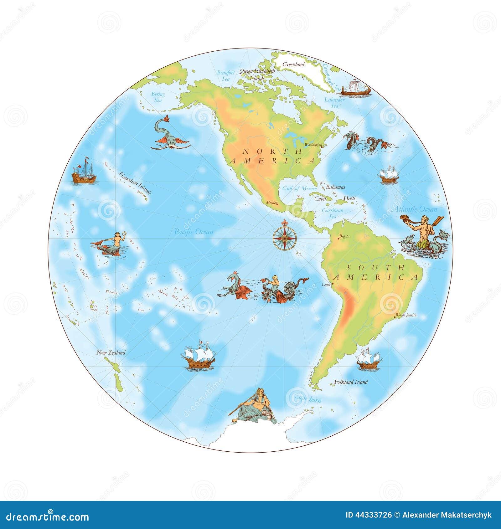 Stara marynarki wojennej mapa Zachodnia hemisfera