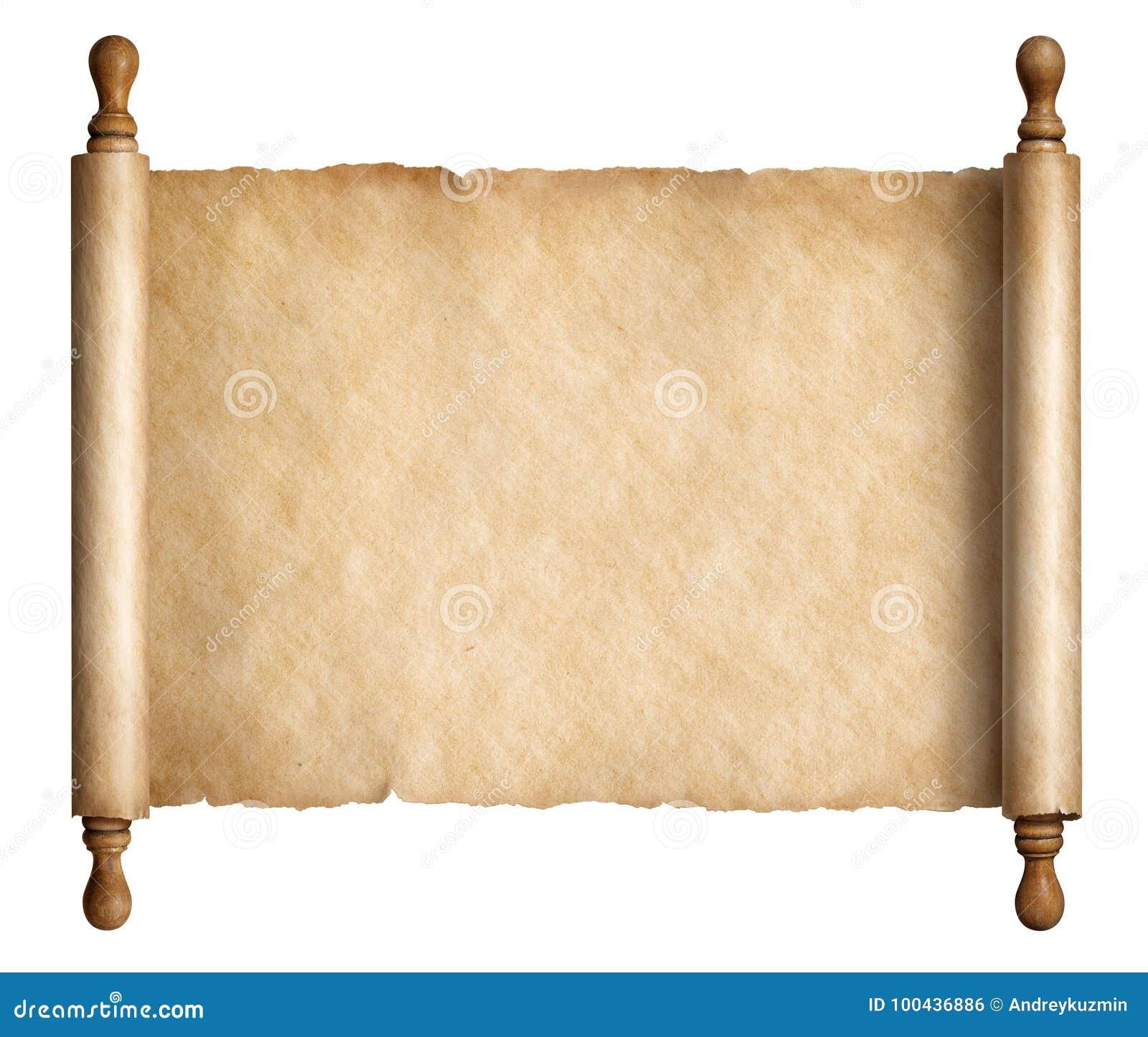 Stara papierowa ślimacznica lub antyczny pergamin odizolowywający na białej 3d ilustraci