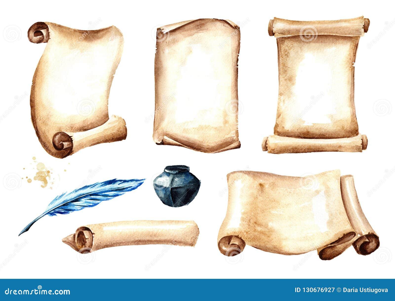 Stara papierowa ślimacznica lub pergamin z setem pióra i inkwell Akwareli ręka rysująca ilustracja odizolowywająca na białym tle