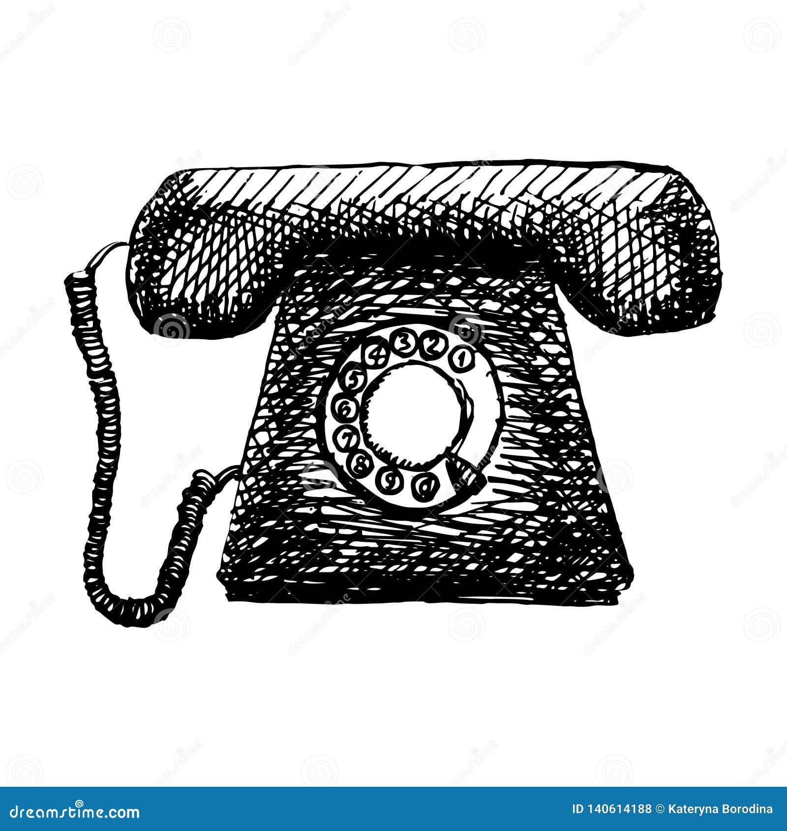 Stara retro telefoniczna ręka rysująca rocznik ilustracja