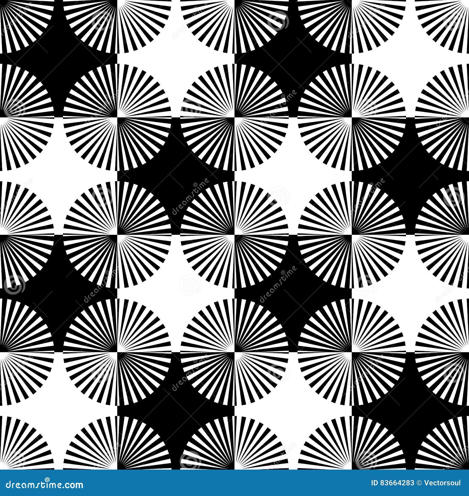 Starburst rays, beams seamless geometric pattern. Monochrome r