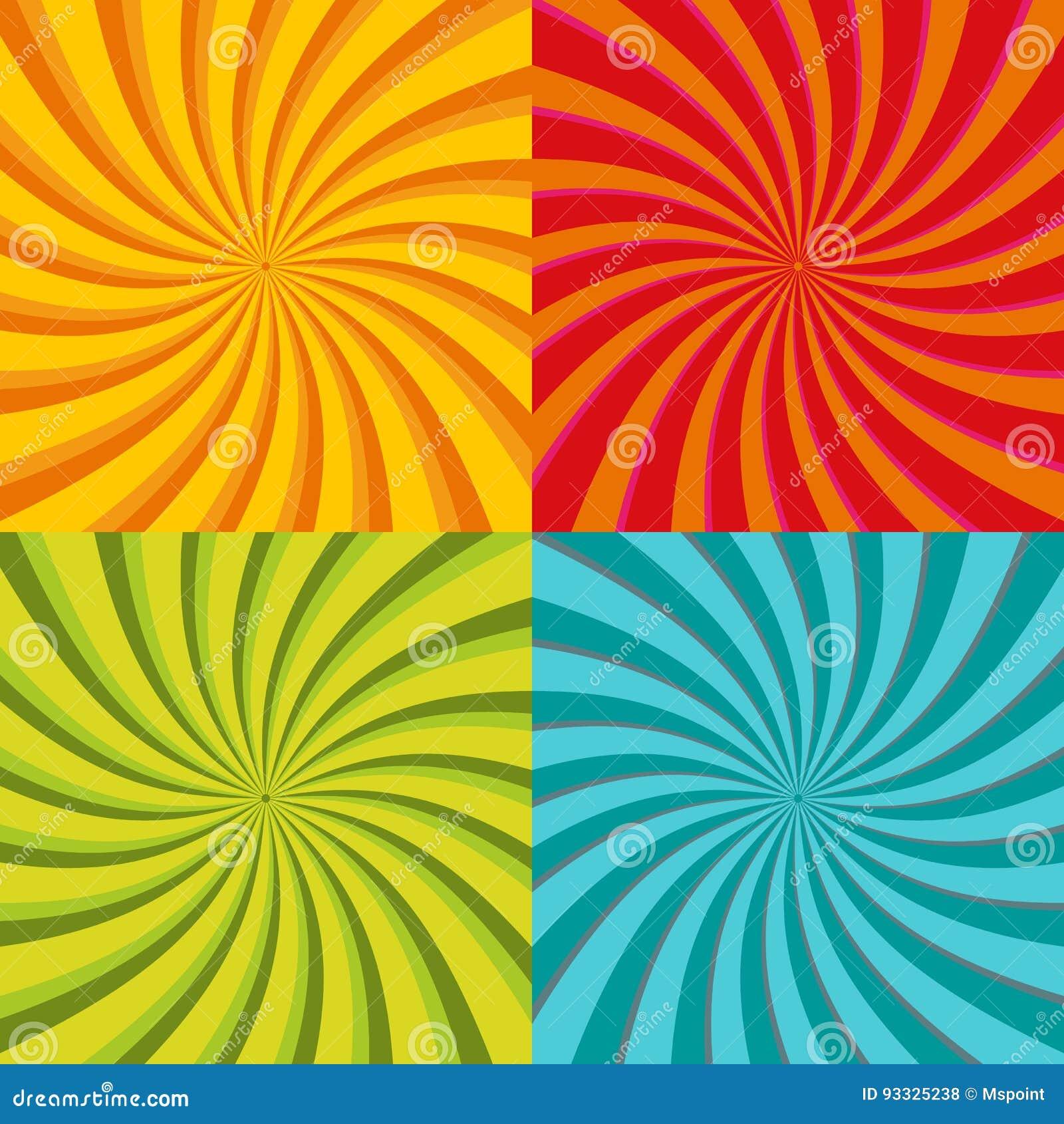 Starburst a spirale, insieme del fondo dello sprazzo di sole Linee, bande con la rotazione, effetto girante di distorsione Rosso,