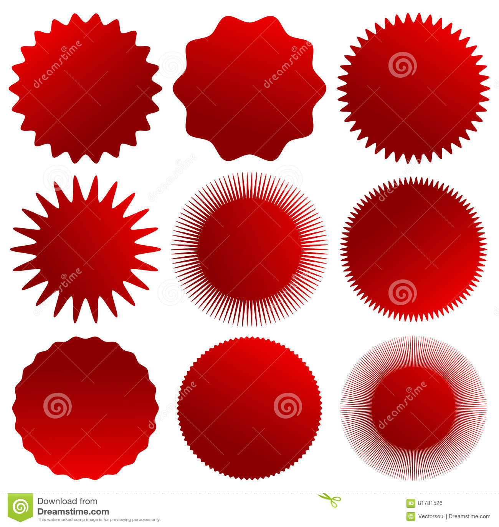 Starburst, Sunburst, Badge Shapes  Set Of 9 Version Stock Vector
