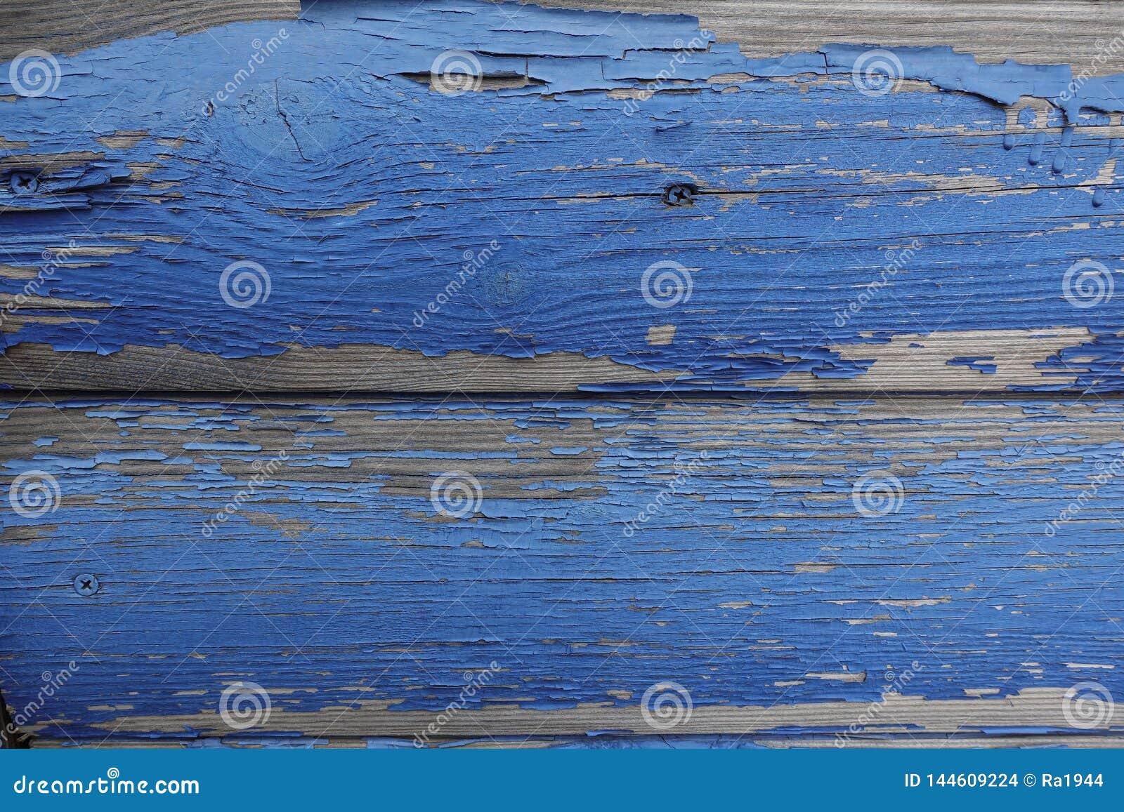 Stare zaokrąglone deski z błękitną obieranie farbą Abstrakcjonistyczny projektanta tło