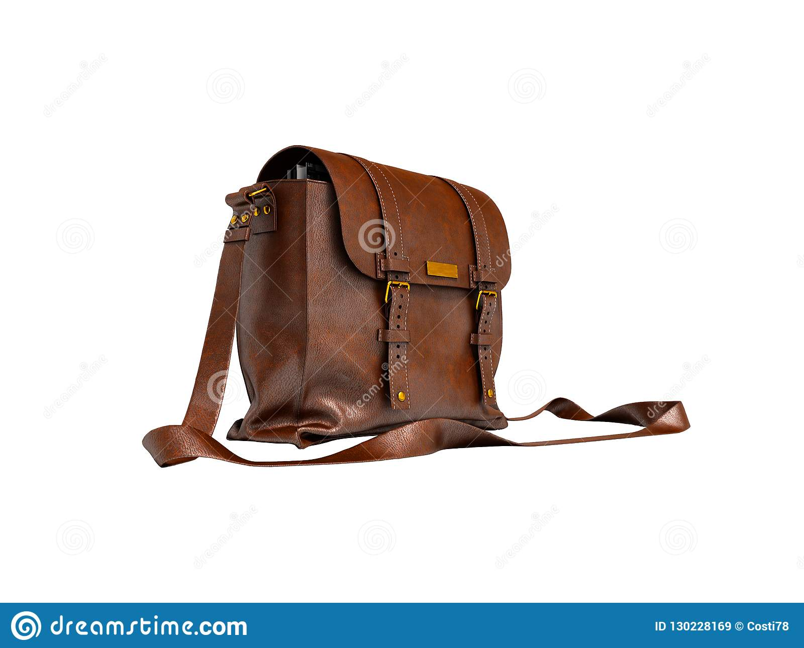 Starego brązu rzemienna torba nad ramieniem dla dokumentów 3d odpłaca się