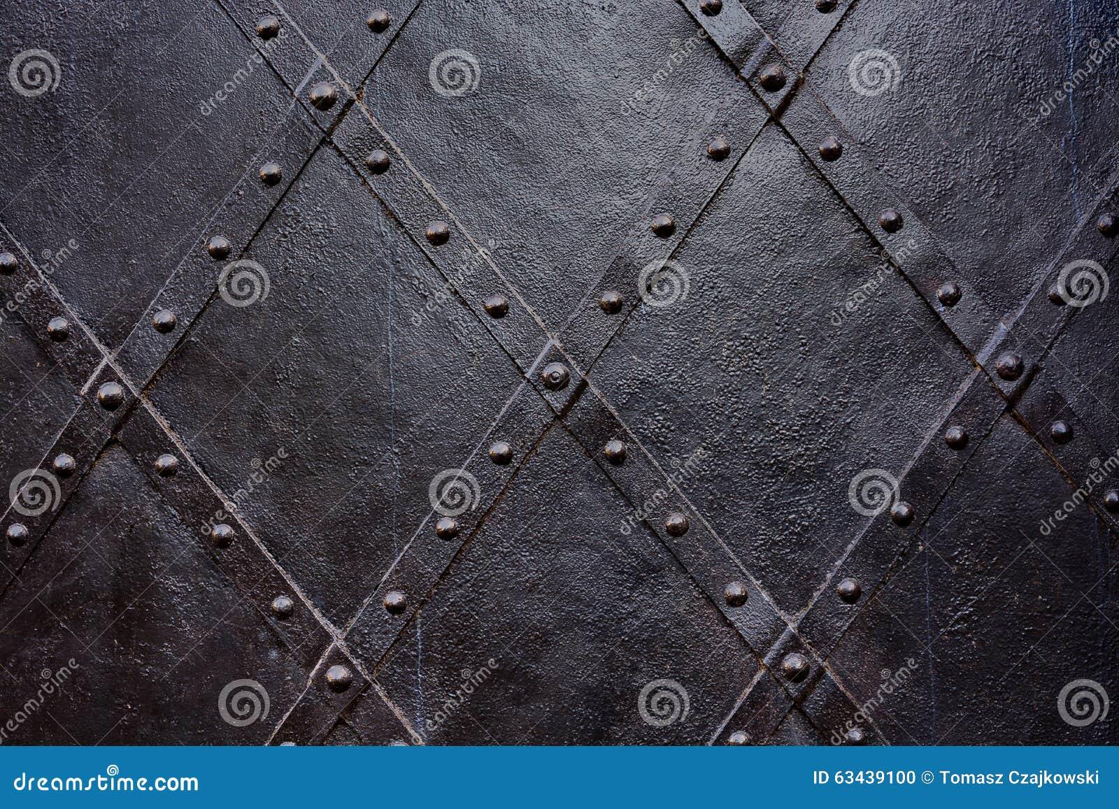 Starego czerni żelaza drzwiowy tło, tekstura, tapeta, wzór