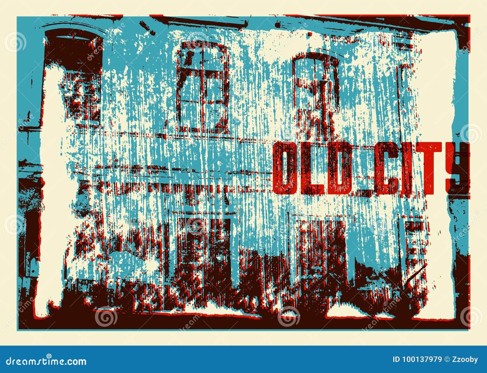 Starego miasto typograficznego rocznika plakatowy projekt Starego domowego grunge tekstury porysowany tło retro ilustracyjny wekt