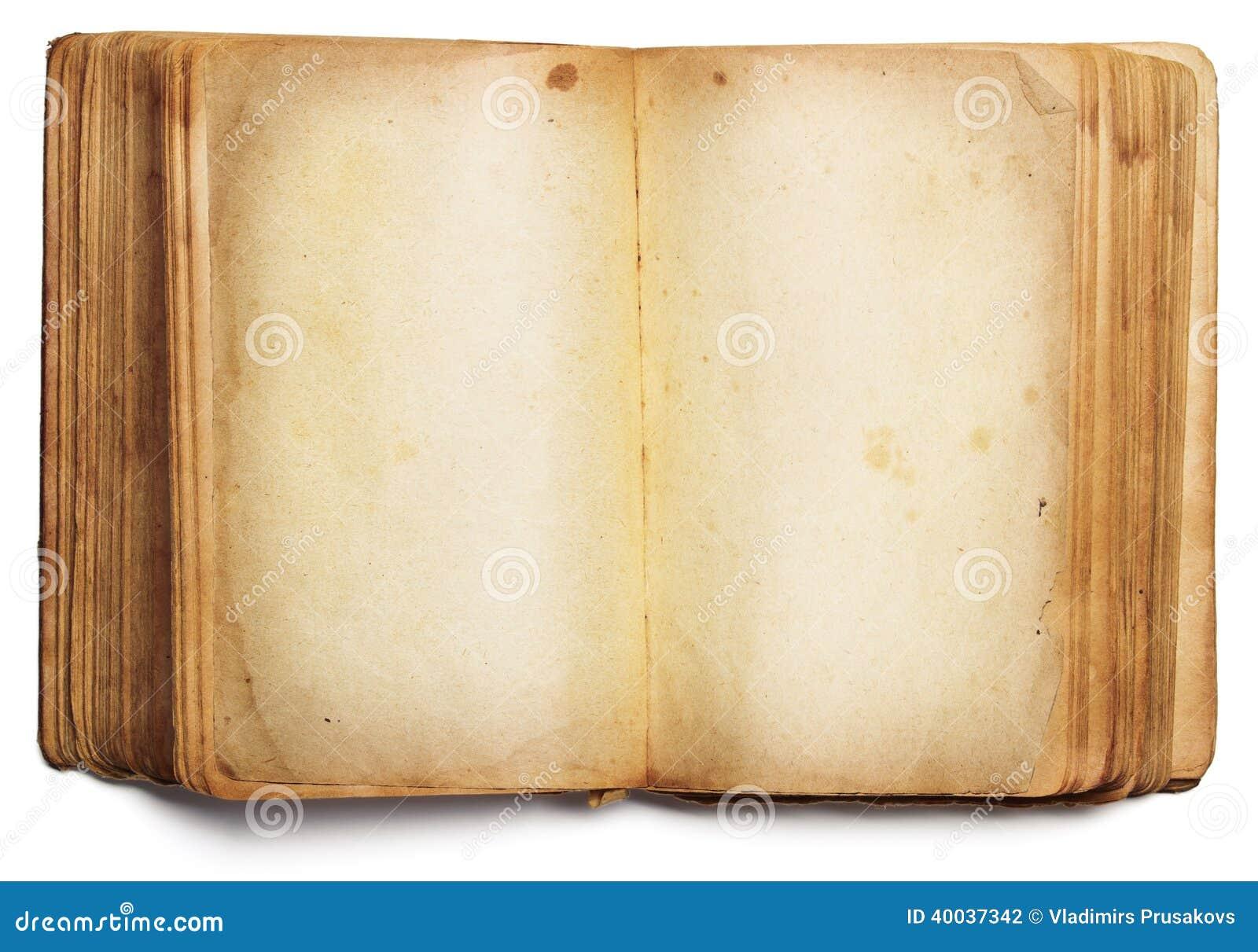 Starej książki otwarte puste strony, opróżniają papier odizolowywającego na bielu