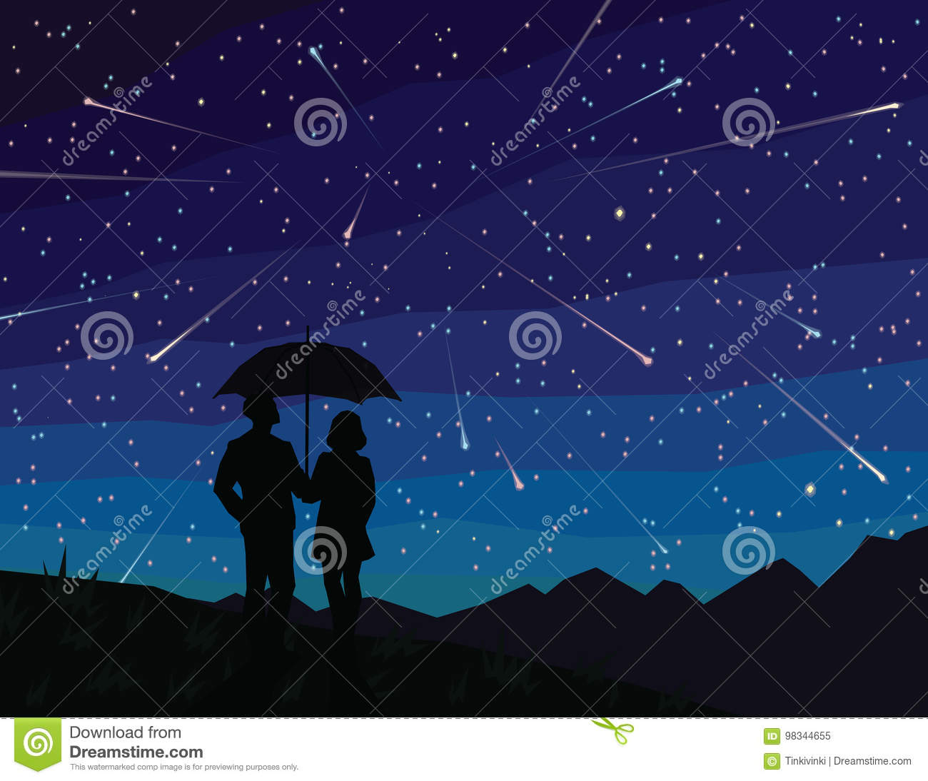 Starfall  Silhouette Of Couple Under Umbrella, Watching