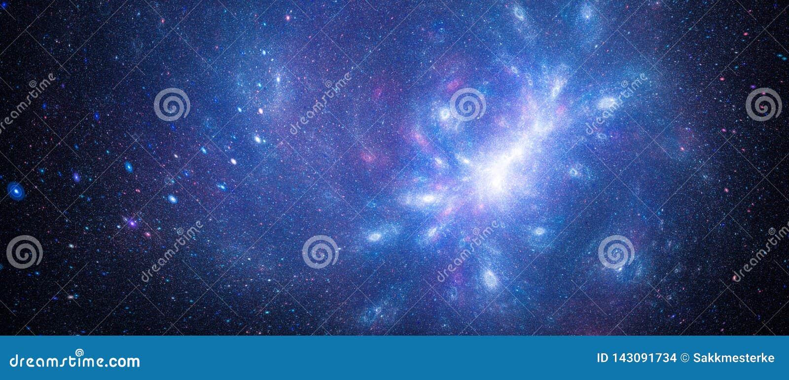 Starfield interstellaire rougeoyant bleu avec l anomalie galactique