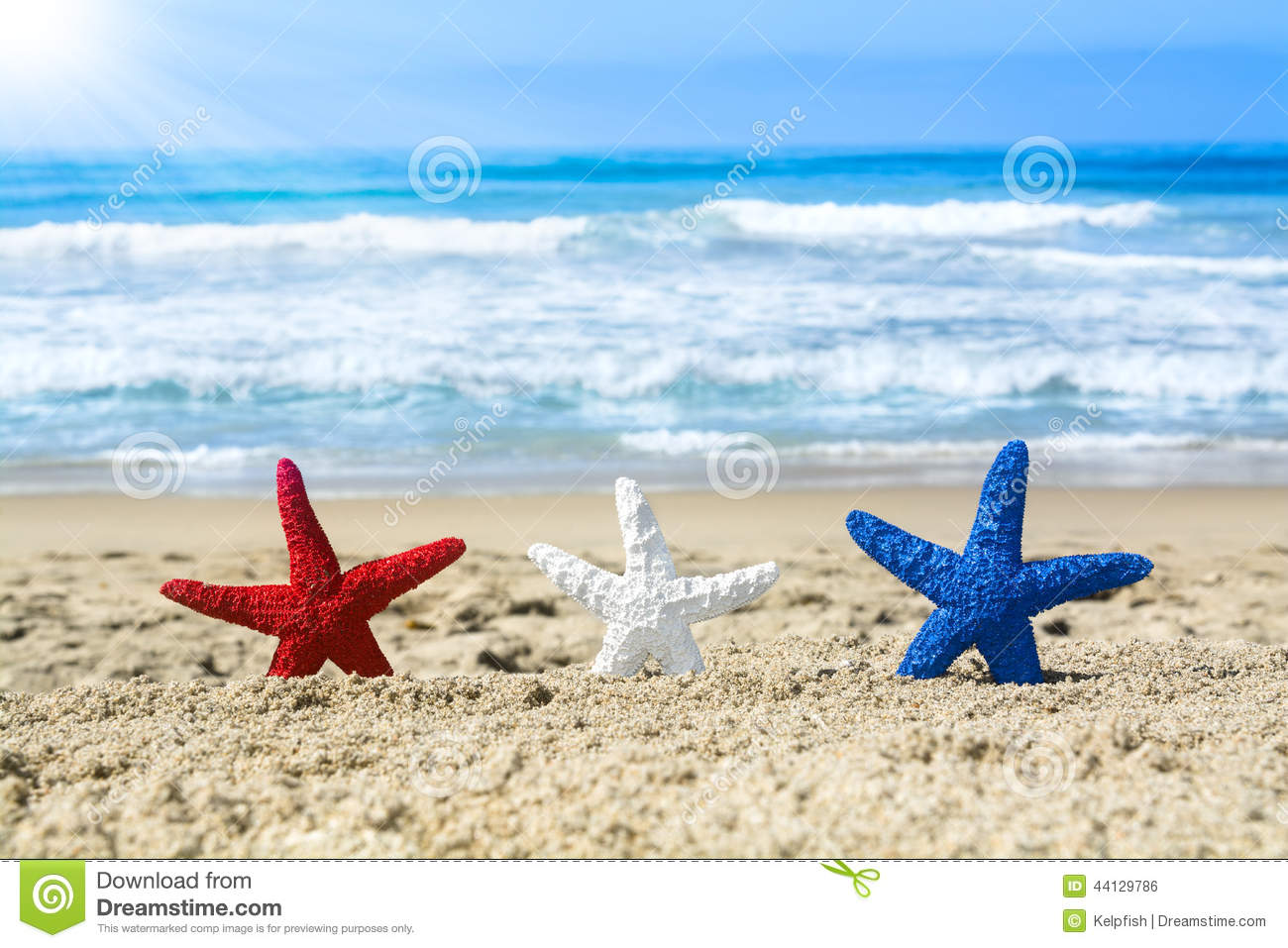 Stock Photo Starfish Beach July Fourth Conceptual Summer Holiday Image Three Red White Blue Overlooking Turquoise Ocean Image44129786 on seaside house plans