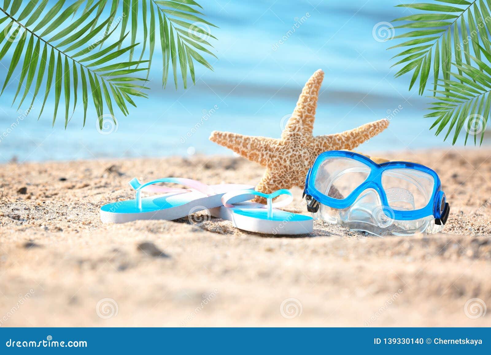Starfish, goggles and flip flops on sand near sea.