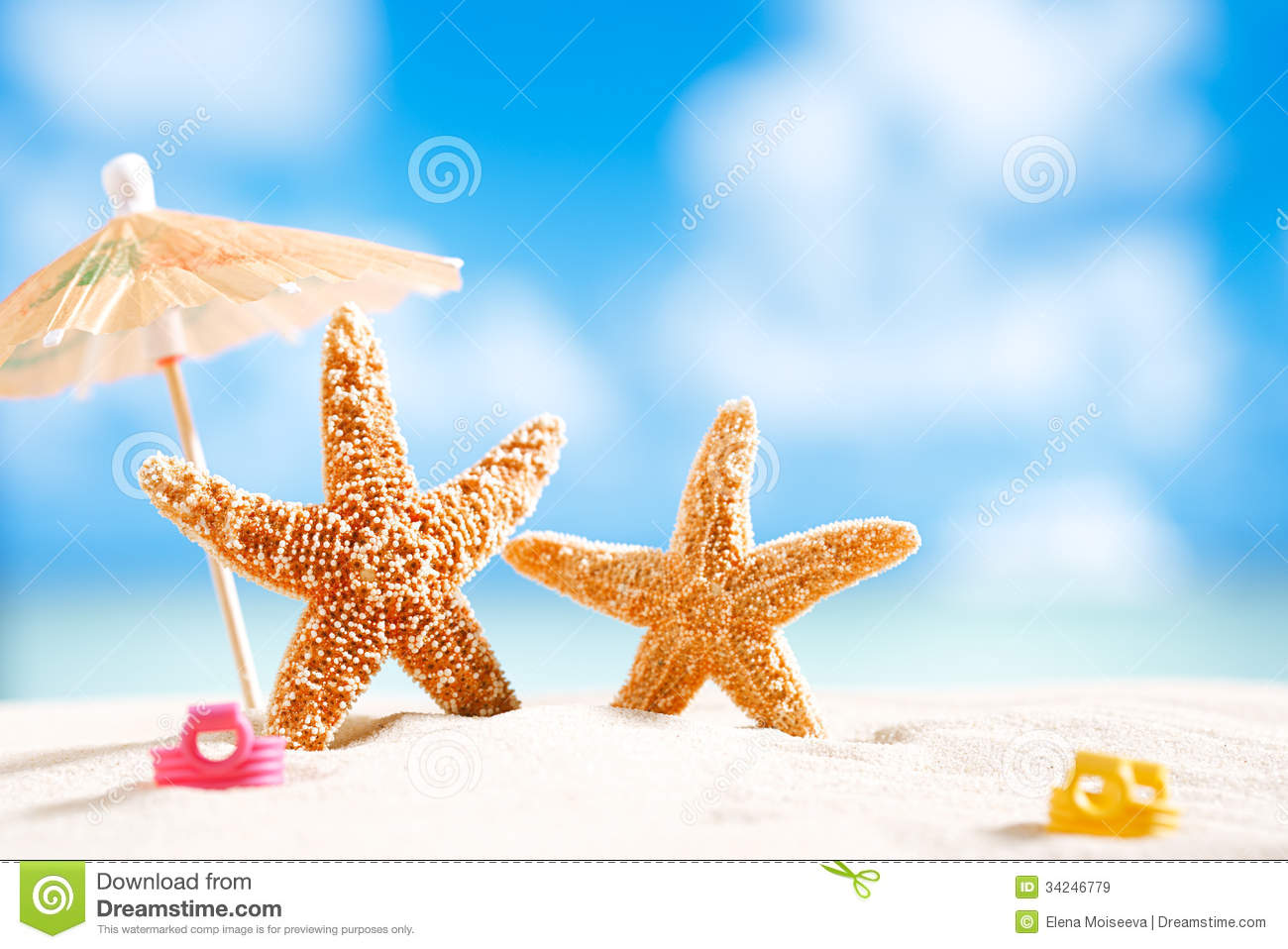 Starfish With Ocean , Beach And Seascape Stock Image ...