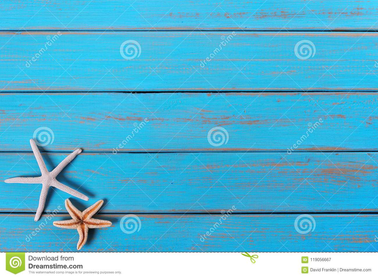 Starfish old weathered tropical blue beach wood deck background