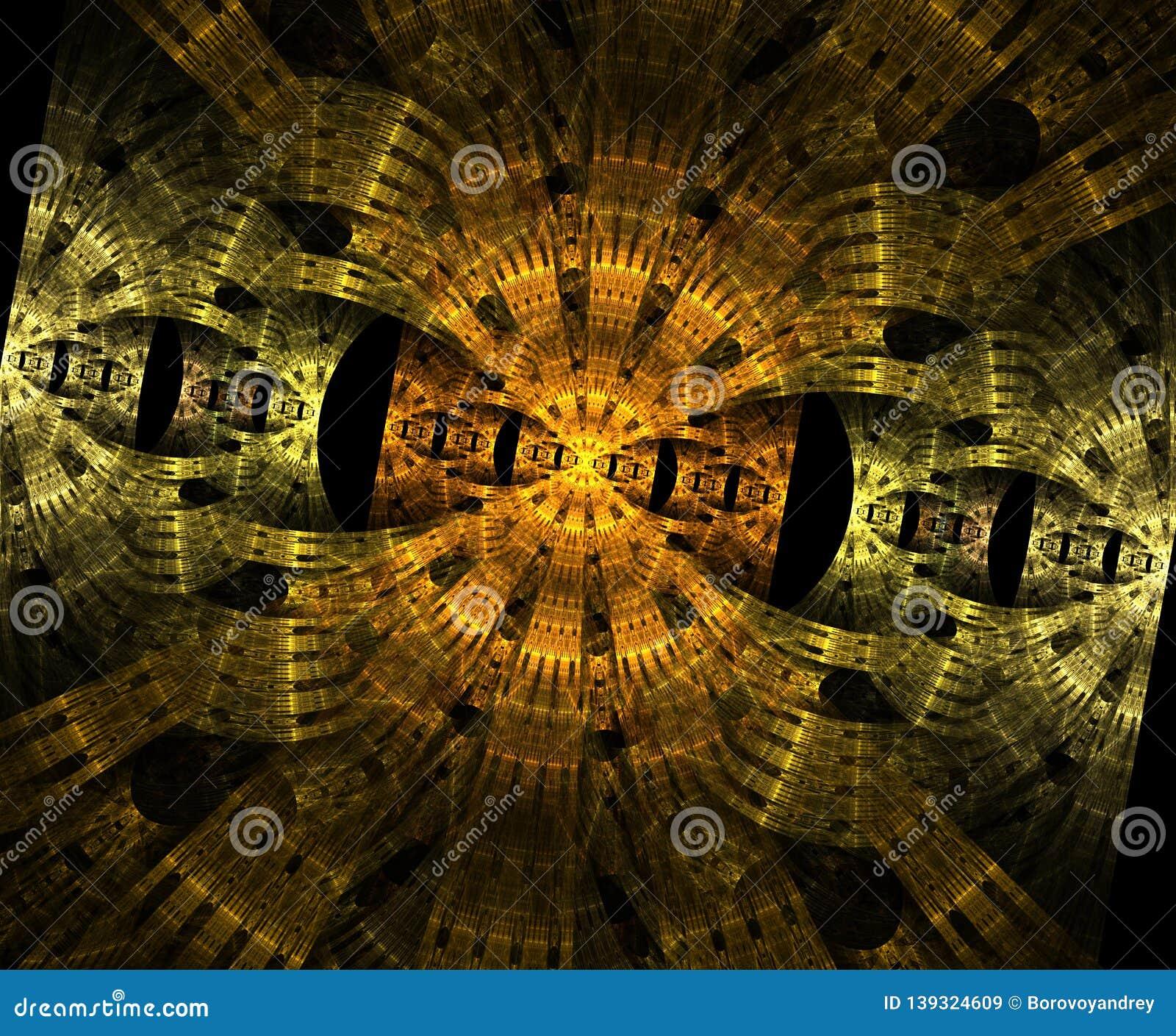 Stargate de incandescência no espaço, fundo abstrato gerado por computador Fractal galáctico do laço