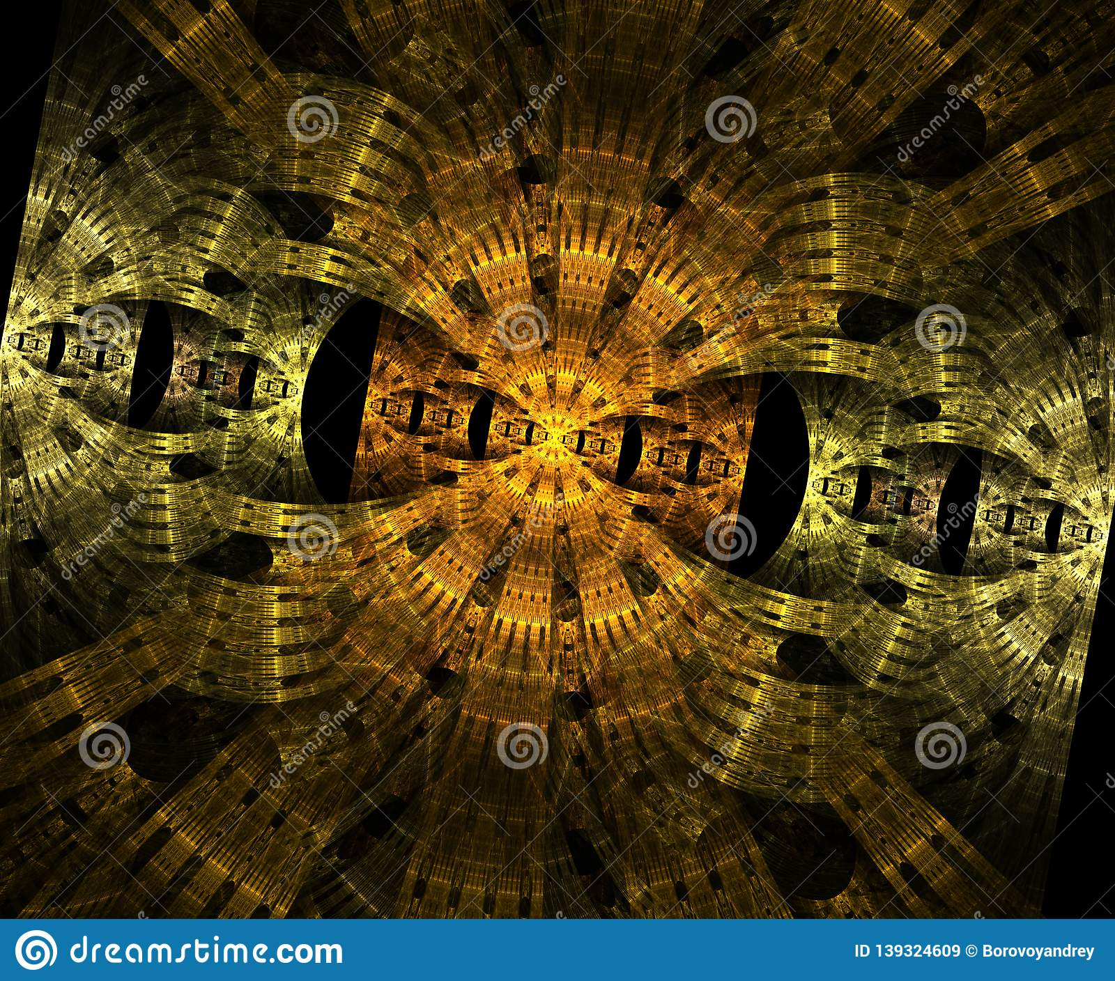 Stargate rougeoyant dans l espace, fond abstrait généré par ordinateur Fractale galactique de dentelle