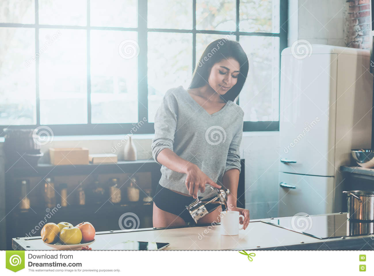 Staring Her Day With Fresh Coffee. Stock Photo - Image of candid ...
