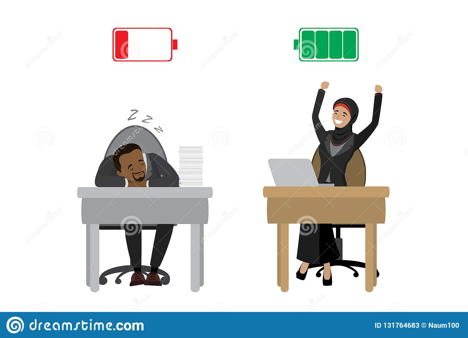 Stark lycklig arabisk affärskvinna och trött afrikansk amerikanaffärsman, grönt laddat och rött urladdningsbatteri som isoleras p