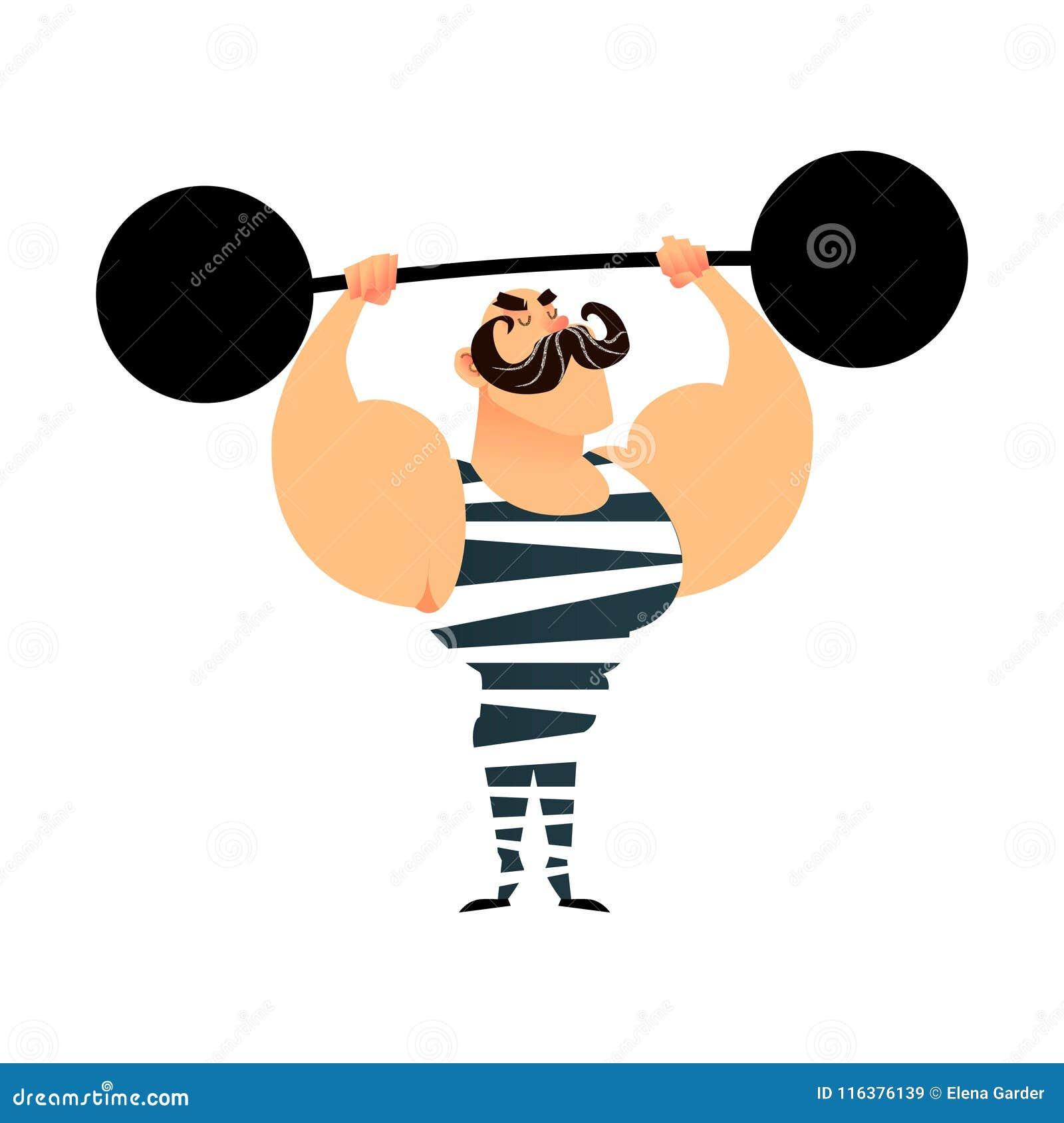 Starker Mann des lustigen Karikaturzirkusses Ein starker muskulöser Athlet hebt den Barbell an Retro- Sportler mit einem Schnurrb