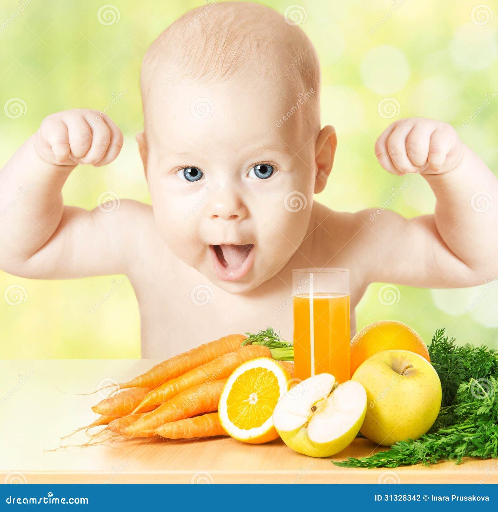 Starkes Baby Mahlzeit Der Frischen Frucht Und Saftglas
