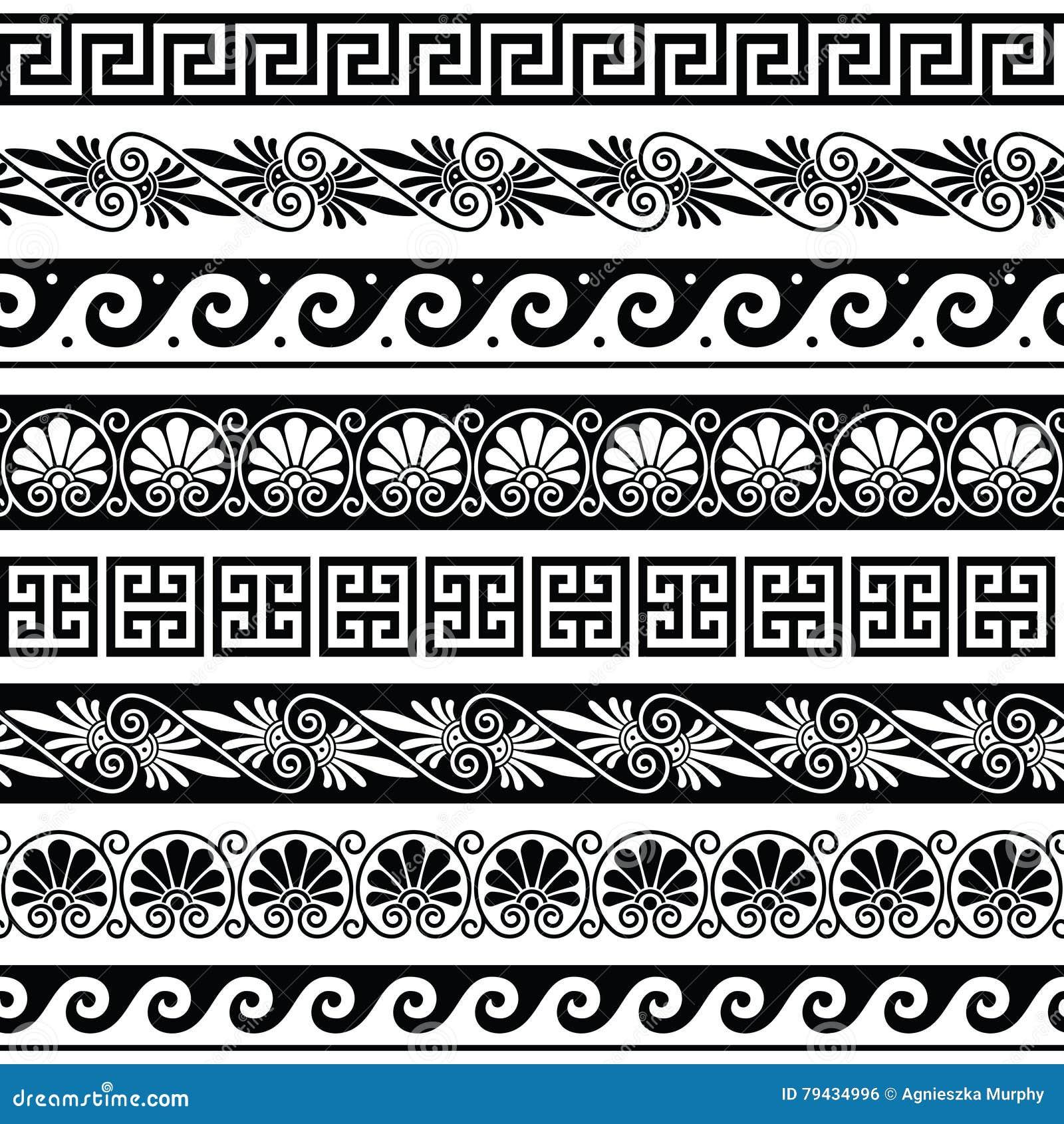 Starożytnego Grka wzór - bezszwowy set antyk graniczy od Grecja