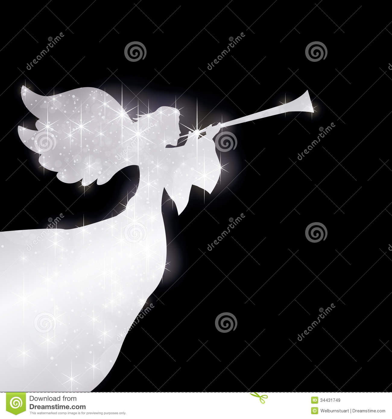 Starry Herald Angel Silver Royalty Free Stock Images - Image: 34431749