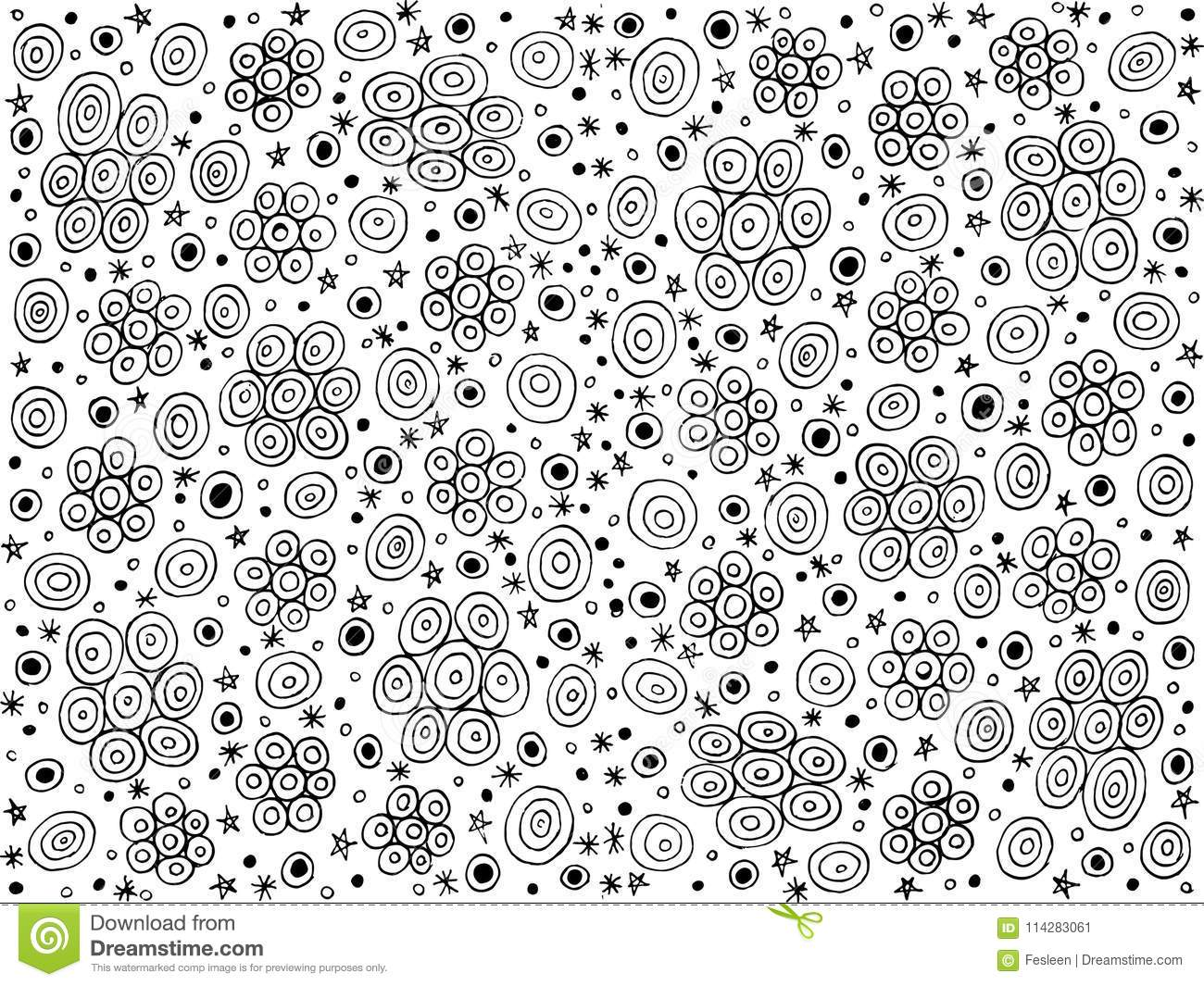 Starry Night - Doodle Coloring Page And Background. Ink Drawing ...