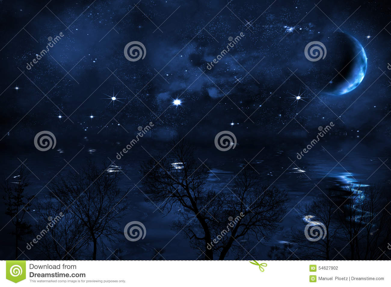 Starry Night Sky Background With Moon Over Sea Stock