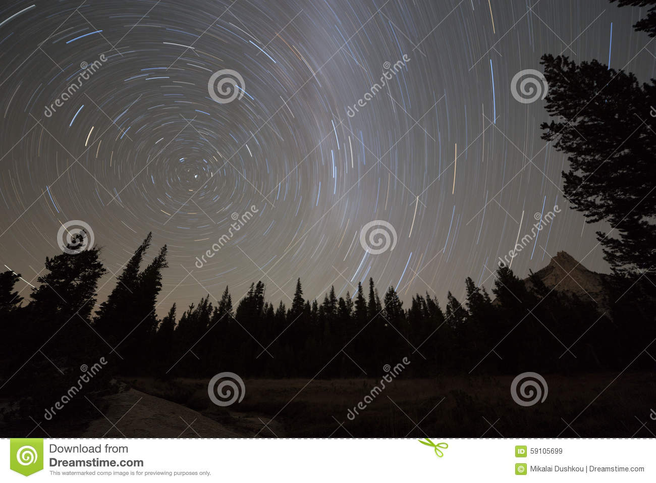 Starry night sky with circular star trails and blurred Milky Way