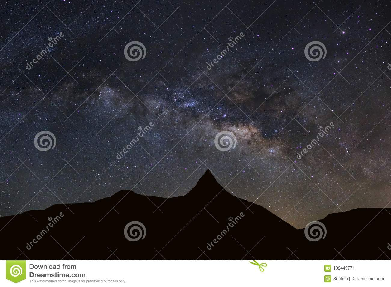 Starry night sky with high moutain and milky way galaxy with sta