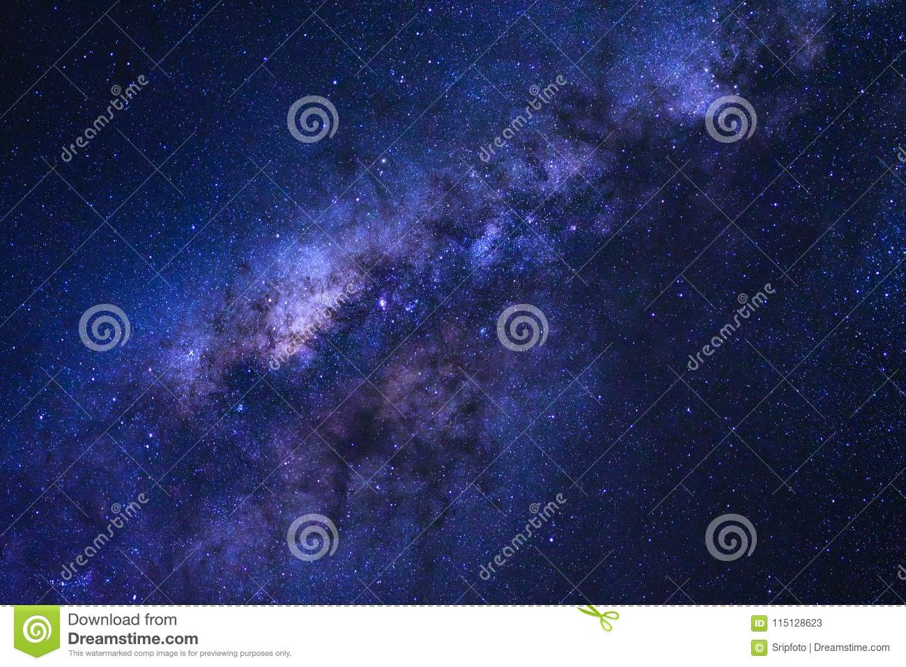 Starry night sky and milky way galaxy with stars and space dust
