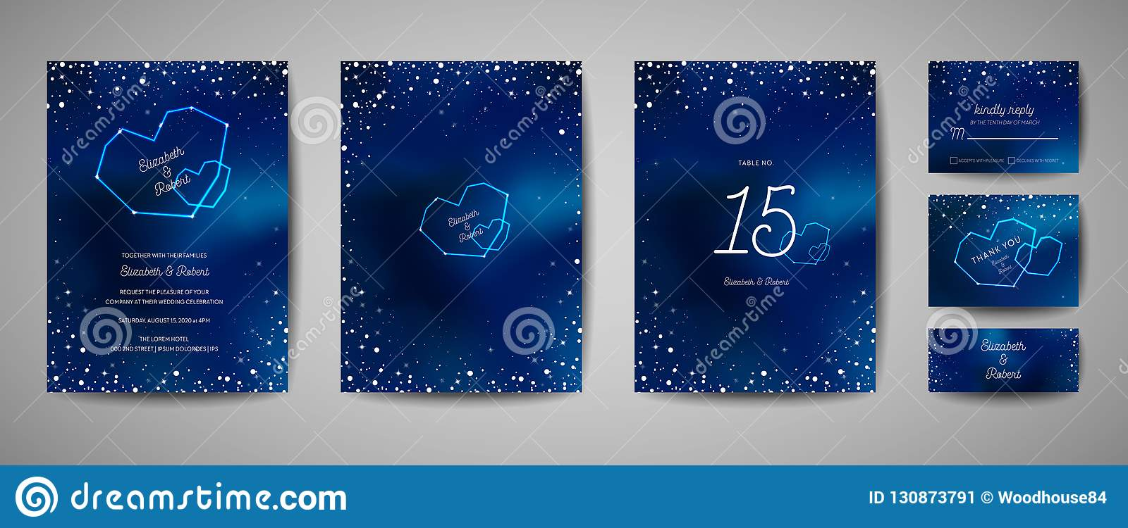 Starry Night Sky Trendy Wedding Invitation Card, Save the Date Celestial Template with Galaxy, Space, Stars