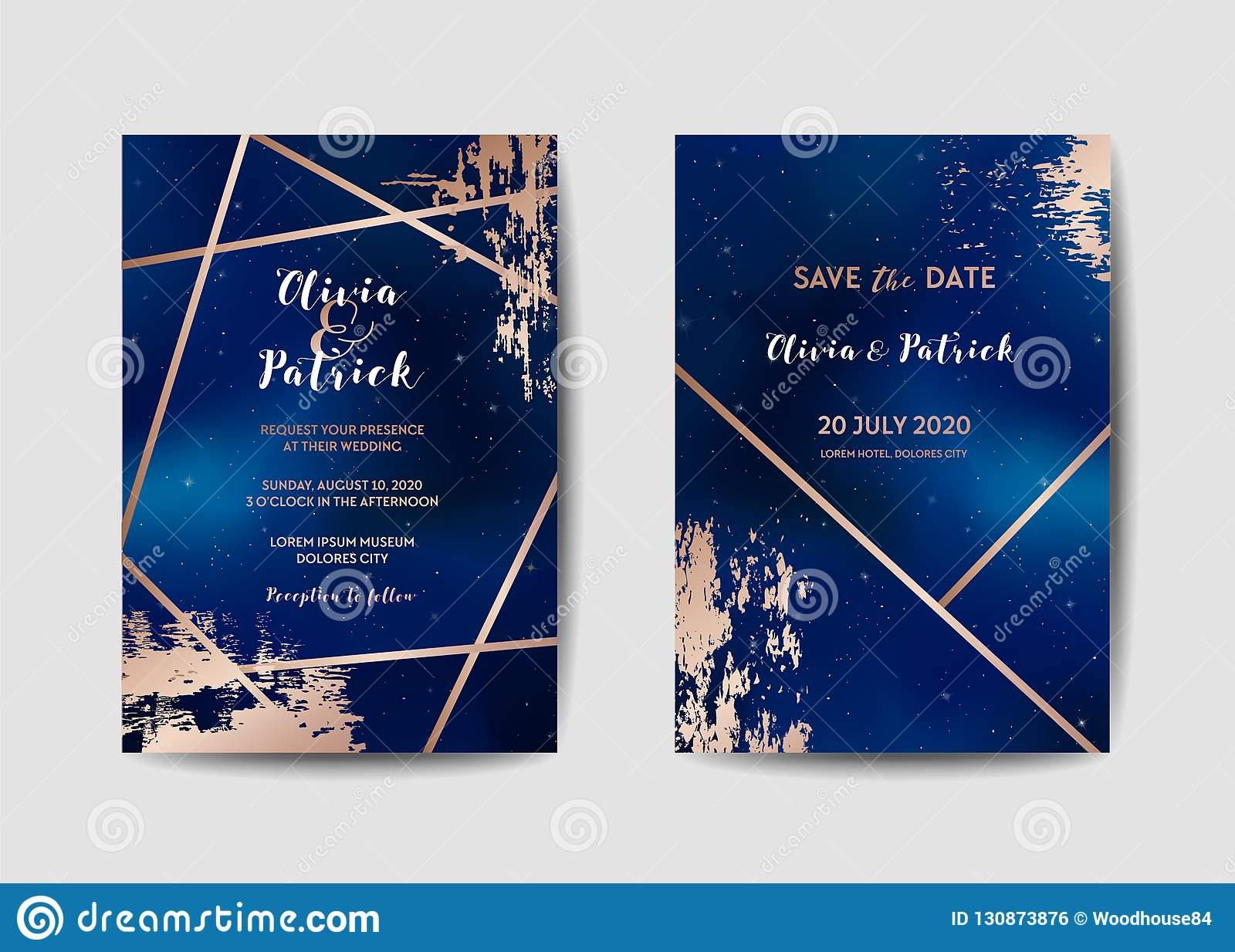 Starry Night Sky Trendy Wedding Invitation Card Set, Save The Date  Celestial Template Of Galaxy, Space, Stars Stock Vector - Illustration of  love, announcement: 130873876