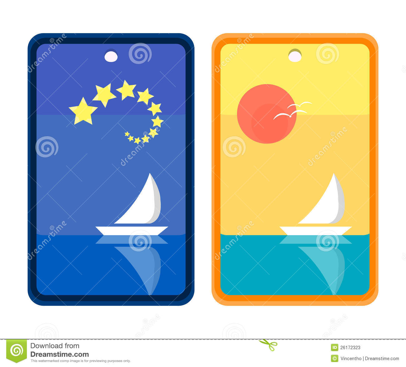 ... out to sea starry night and sunny day background bookmark design