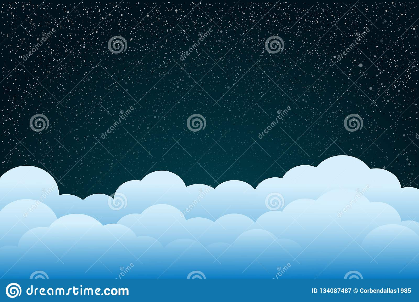 Starry Sky With Blue Clouds Moon Stars Dark Sky Stock Vector Illustration Of Planet Magic 134087487