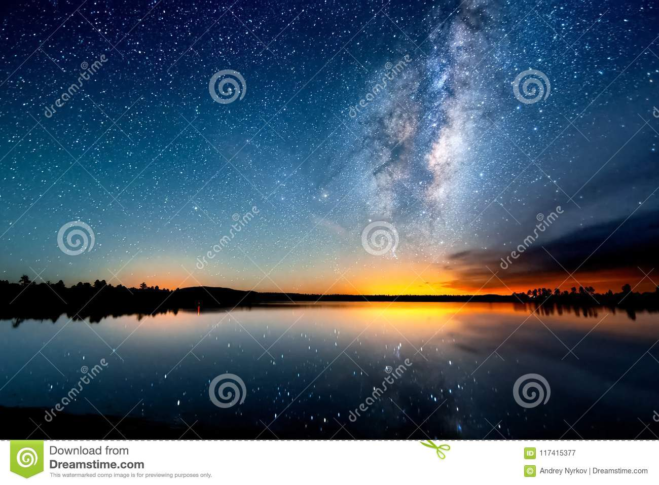 The starry sky, the milky way. Photo of long exposure. Night landscape