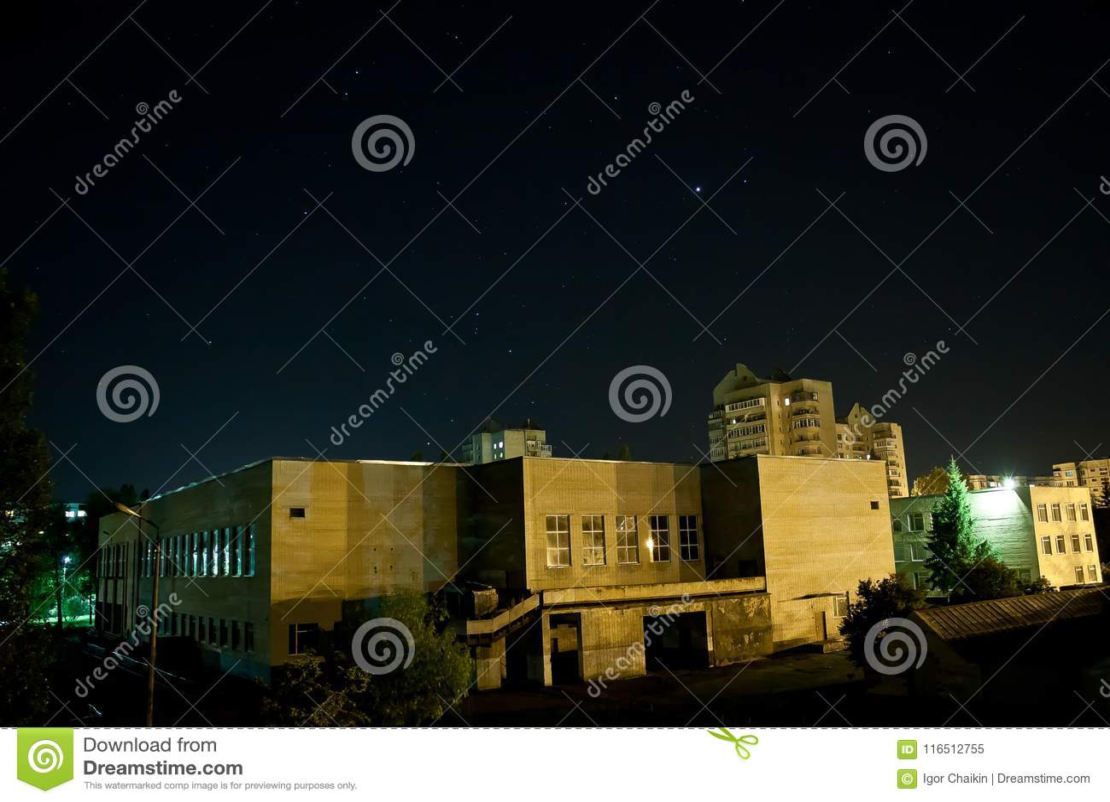 starry sky on the night city stock image image of tree sunset