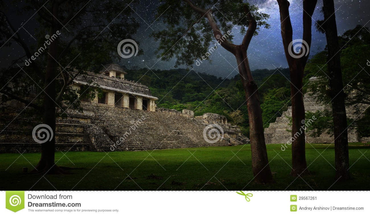 Starry sky over the ruins and pyramids in the ancient city of Pa