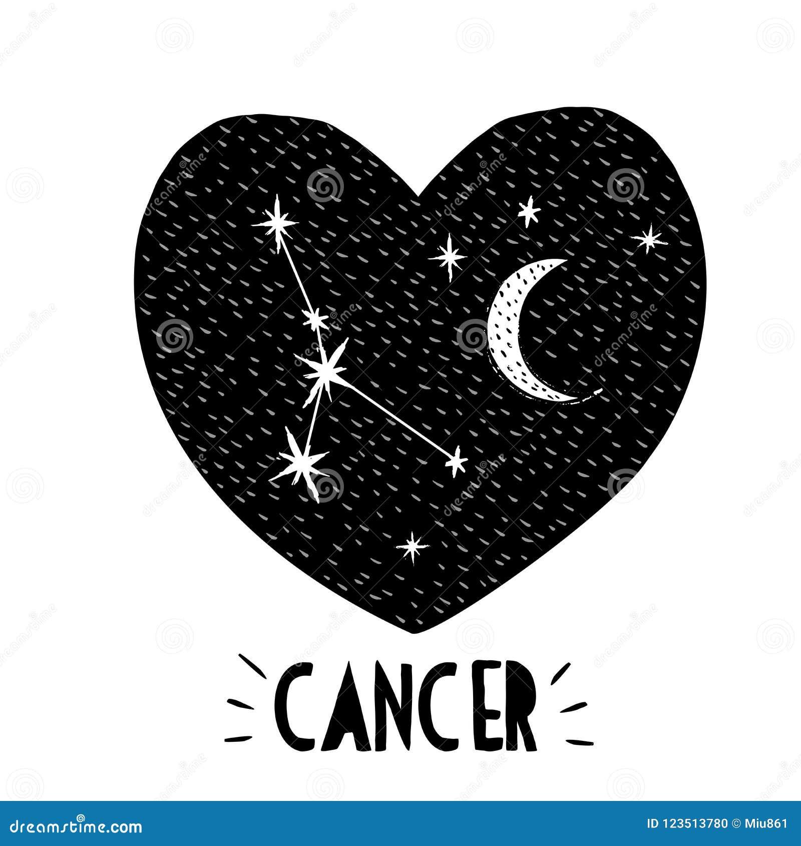 Cancer Symbol  Hand Drawn Zodiac Vector Illustration  Starry