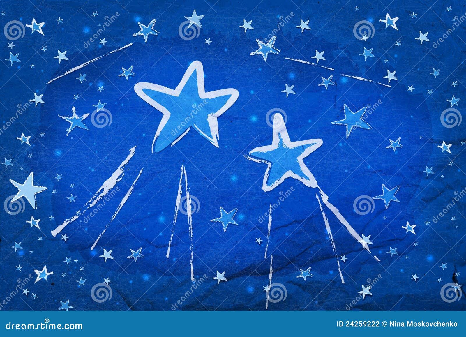 Stars on blue paper