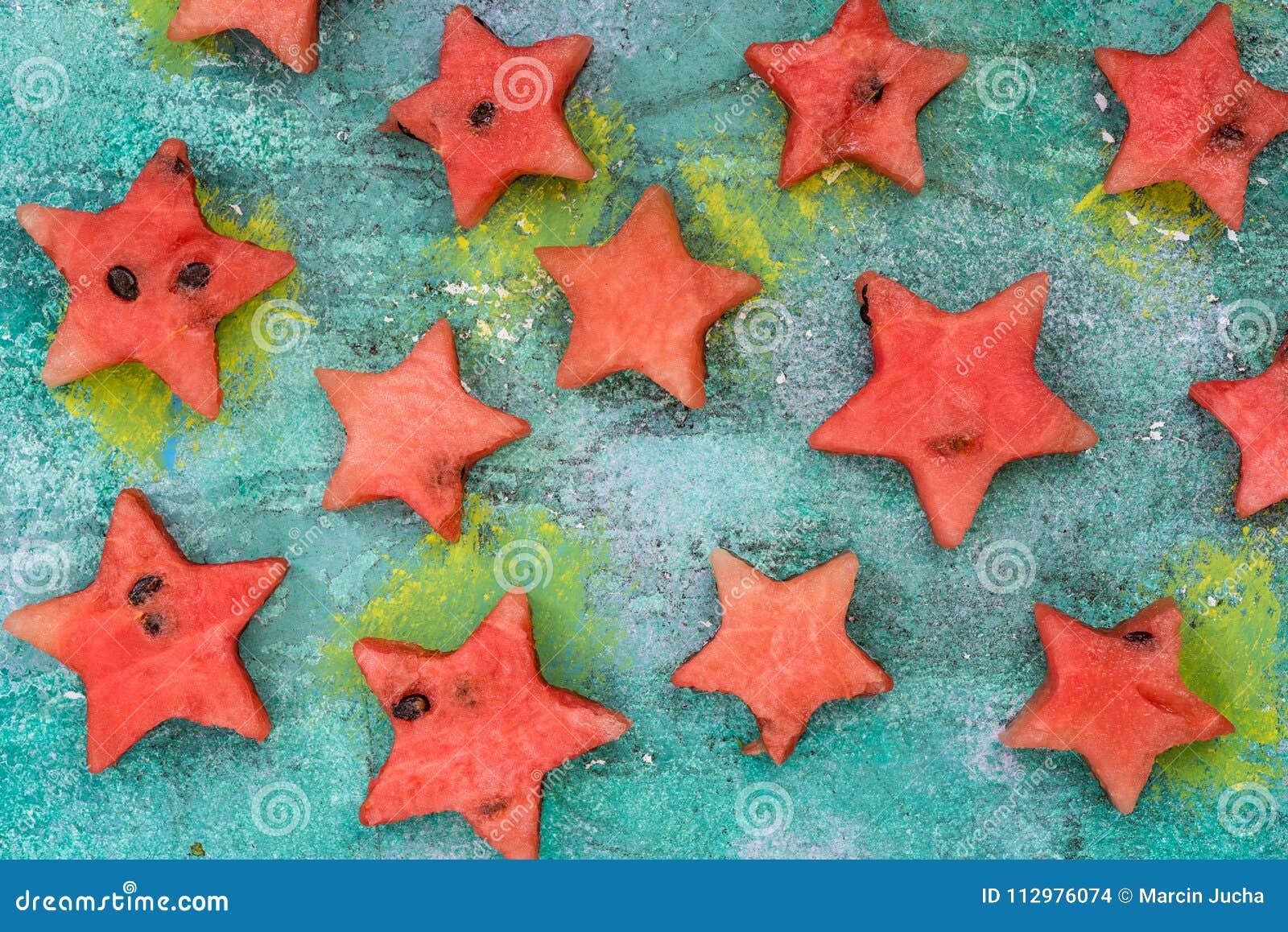 Stars cut off from watermelon