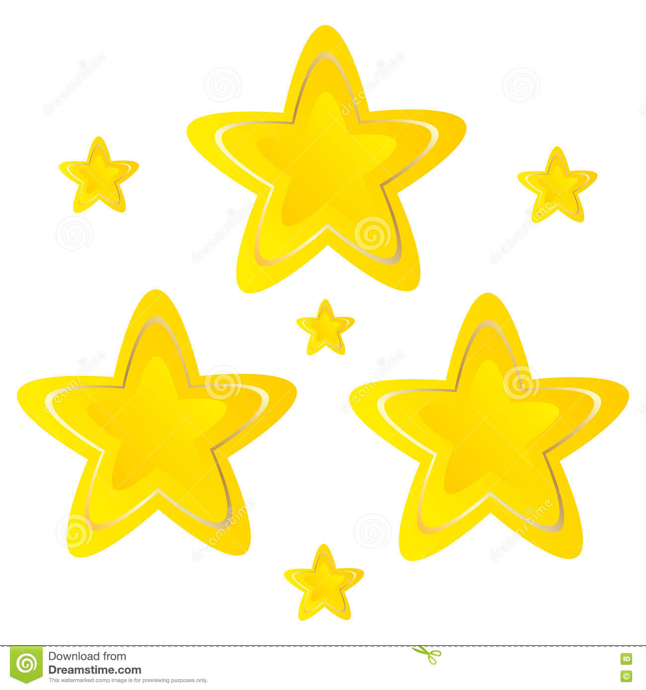 Stars Golden yellow on white background vector