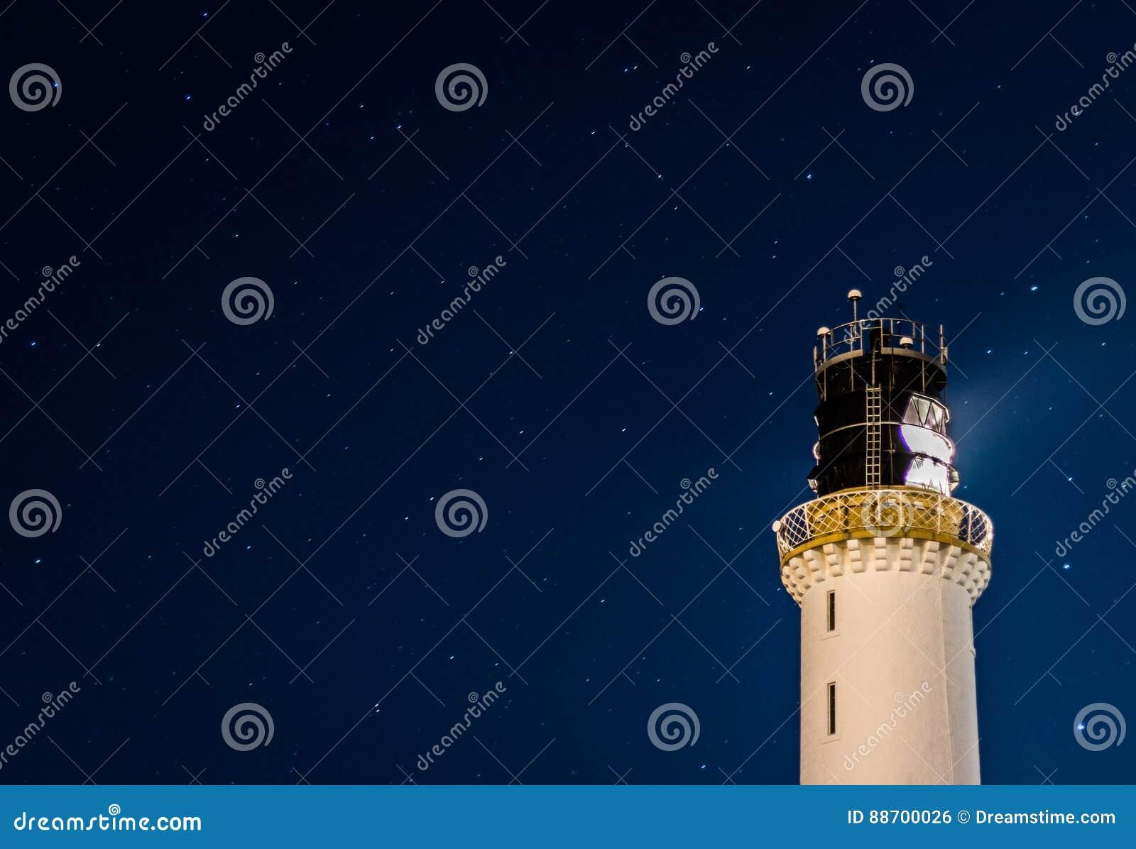 Stars At Greyhope Bay Lighthouse Stock Photo Image Of
