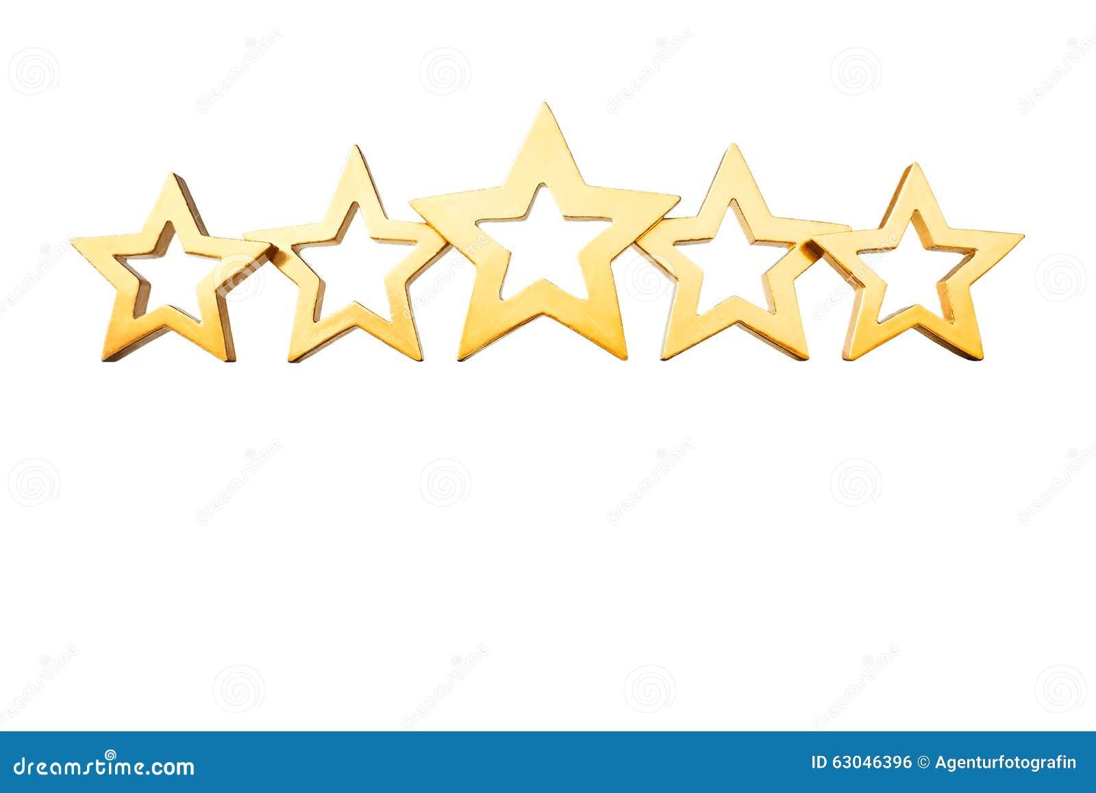 Five gold shiny stars ...