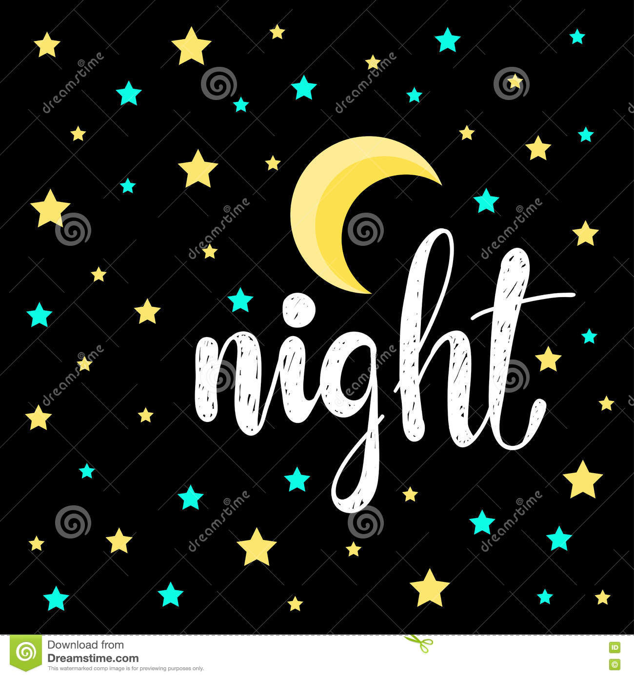 Stars And Moon Good Night And Sweet Dreams Theme Stock Vector