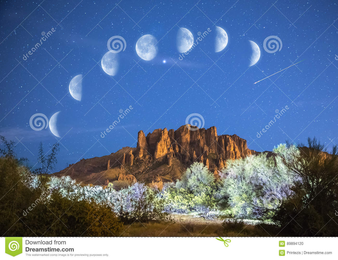 Stars & Moon Phases over Superstition Mountains in Arizona