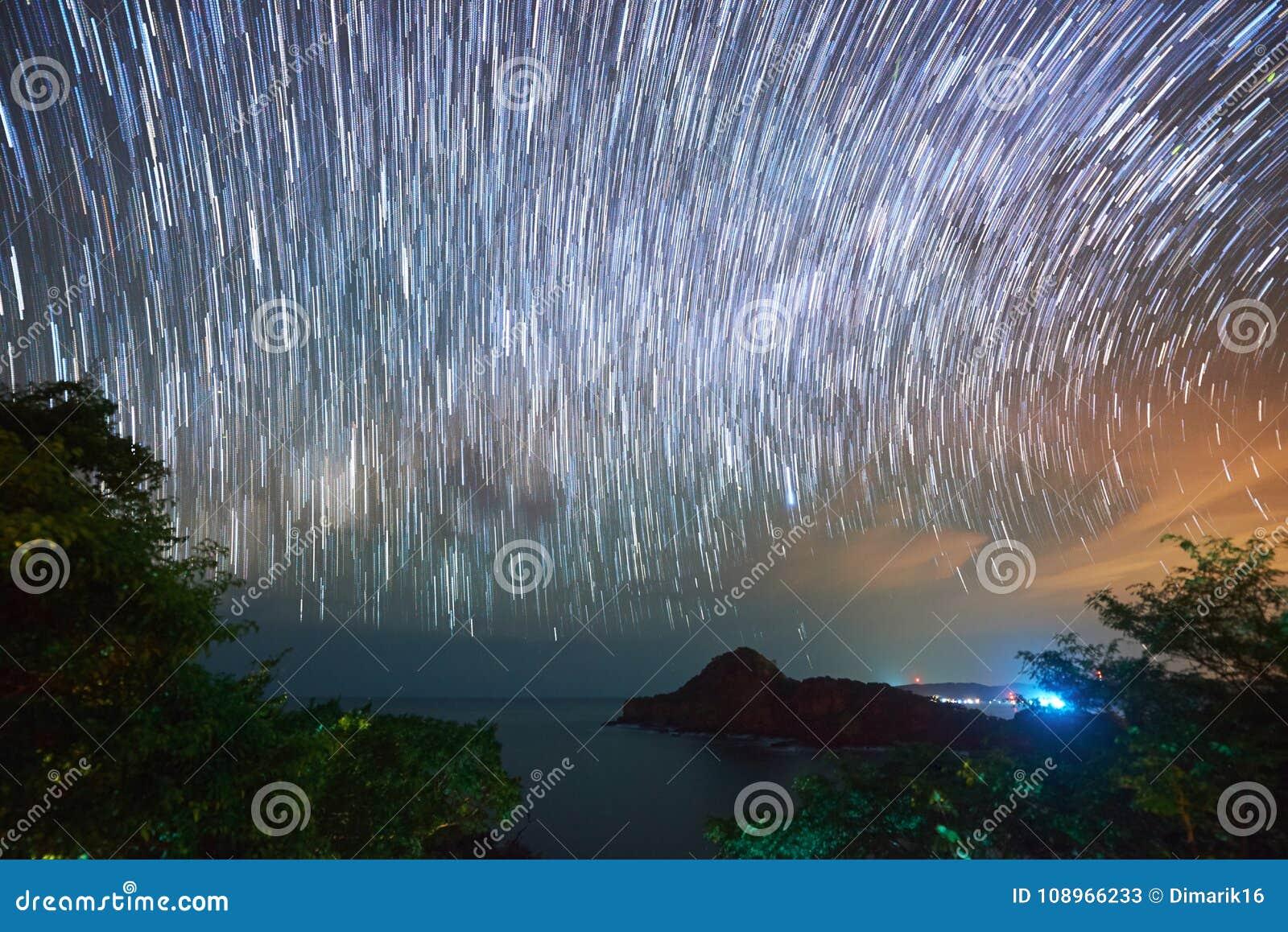 Stars moving at night sky