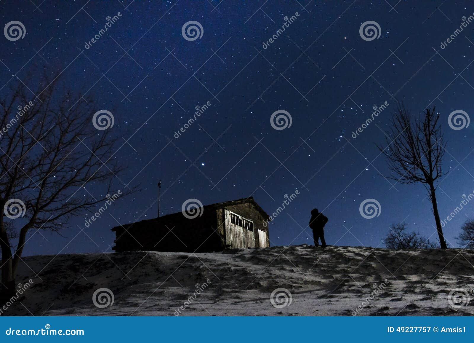 Stars night snow