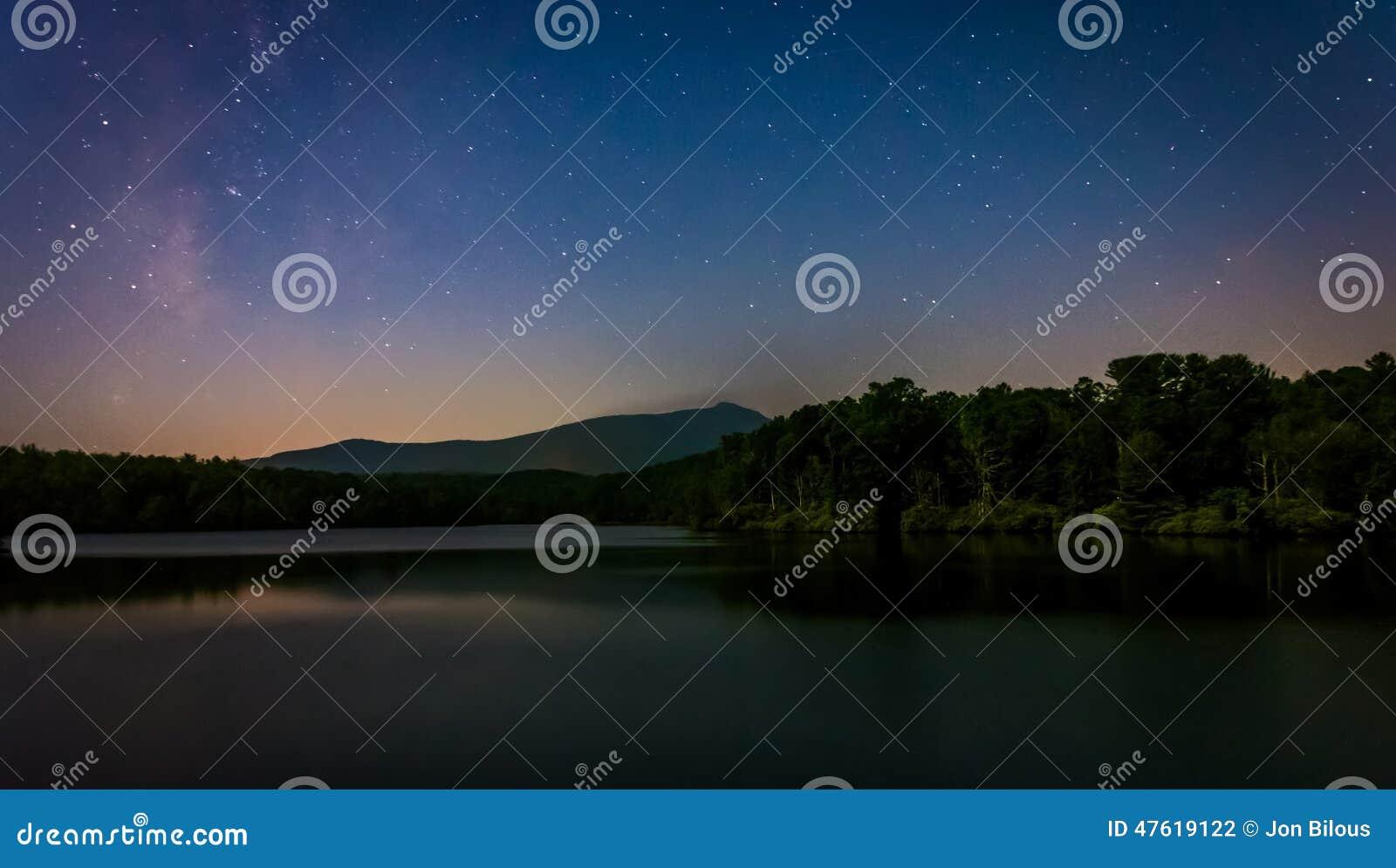 Stars over Julian Price Lake at night, along the Blue Ridge Park